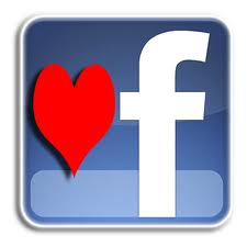Facebook logo with red heart